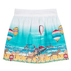 Uttam Kids - White Seaside Border Print Skater Skirt