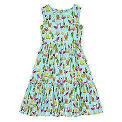 Uttam Kids - Blue Flamingo Print Frill Day Dress