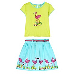 Uttam Kids - Green Flamingo Print T-shirt and Skirt Set