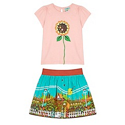 Uttam Kids - Pink Garden Print T-Shirt and Skirt Set
