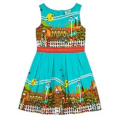 Uttam Kids - Blue Garden Border Print Day Dress