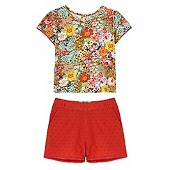 Uttam Kids - Red 70s Floral Print T-Shirt and Shorts Set