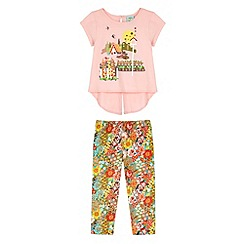 Uttam Kids - Pink 70s Floral Print T-Shirt and Leggings Set