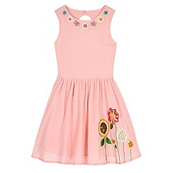 Uttam Kids - Pink Floral Embroidered Sun Dress