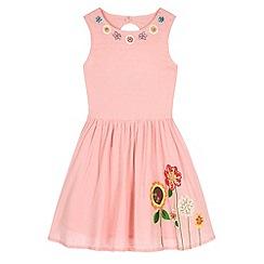 Uttam Kids - Pink Floral Embroidered Sun Dress