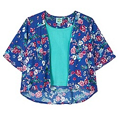 Uttam Kids - Blue Peacock Print Kimono and Vest Top Set