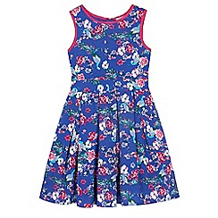 Uttam Kids - Blue Peacock Print Day Dress