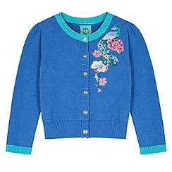 Uttam Kids - Blue Peacock Embroidered Cardigan