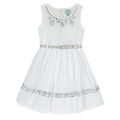 Uttam Kids - White Embellished Party Dress