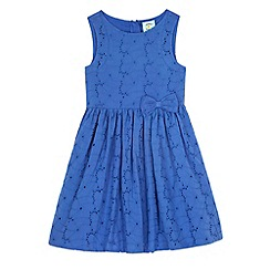 Uttam Kids - Blue Broderie Anglaise Bow Front Dress