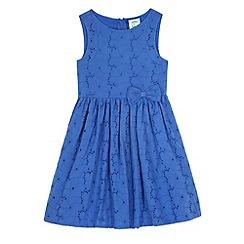 Uttam Kids - Blue Broderie Anglaise Bow Front Dress