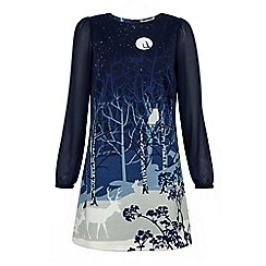 Yumi - Blue Forest silhouette dress