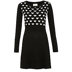 Yumi - Black Heart intarsia knitted dress