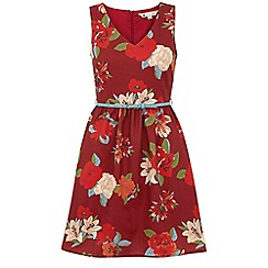 Yumi - Red Bold floral dress