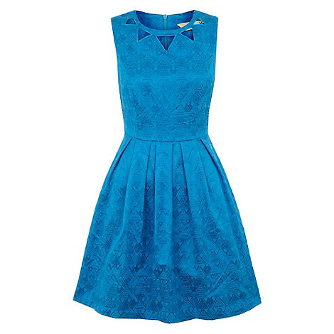 Yumi - Blue Tribal flare dress