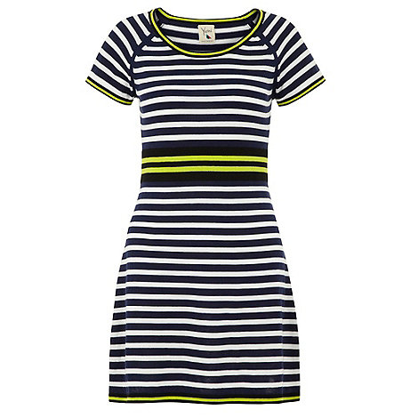Yumi - Navy Nautical stripe knit dress