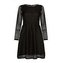 Yumi - Black textured skater dress