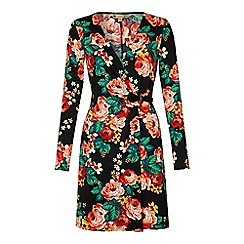 Yumi - Rose print wrap dress