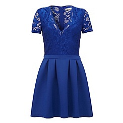 Yumi - Lace pleated skater dress