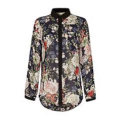Yumi - Floral print contrast shirt
