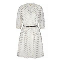 Yumi - White gold spot print shirt dress