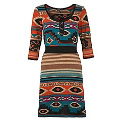 Yumi - Orange Aztec bodycon dress