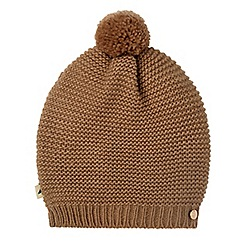 Yumi - Tan knitted bobble hat