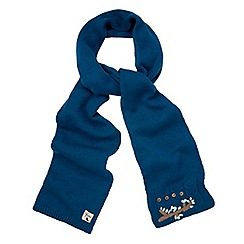 Yumi - Blue embroidered knitted scarf