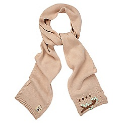 Yumi - Cream embroidered knitted scarf