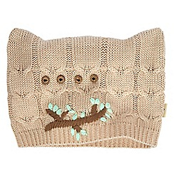 Yumi - Cream embroidered owl knitted hat