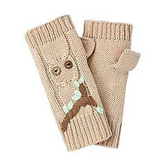 Yumi - Cream embroidered owl fingerless mittens