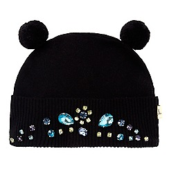 Yumi - Black embellished bobble hat