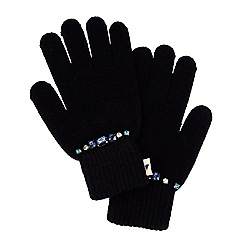 Yumi - Black embellished gloves