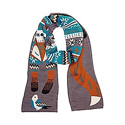 Yumi - Grey Fox and Bird Scarf