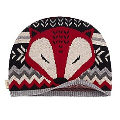 Yumi - Grey fox print beanie hat