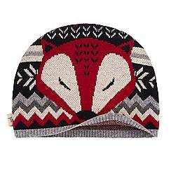 Yumi - Grey Fox Print Beanie Hat