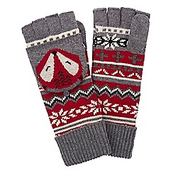 Yumi - Grey Fox Print Fingerless Mittens