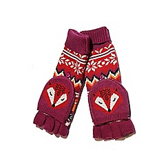 Yumi - Red fox print fingerless mittens
