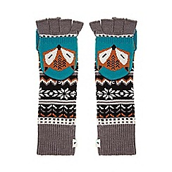 Yumi - Grey Fox Knit Capped Gloves