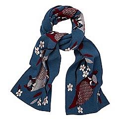Yumi - Blue floral owl print scarf