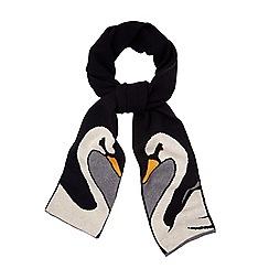 Yumi - Black swan print knitted scarf