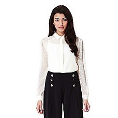 Yumi - Black Wide Leg Trousers With Metallic Buttons