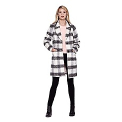 Yumi - grey Single Breasted Checked Collar Coat