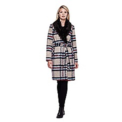 Yumi - Multicoloured  Faux Fur Checked Wrap Coat With Collar