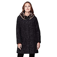 Yumi - grey Faux Fur Cocoon Coat With Collar