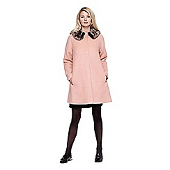 Yumi - pink Faux Fur Cocoon Coat With Collar