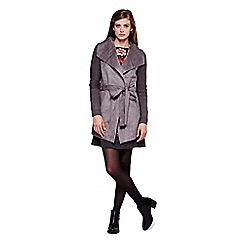 Yumi - Grey Suedette and Knit Wrap Coat