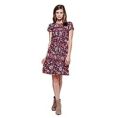 Yumi - Grey Rose Printed Skater Dress