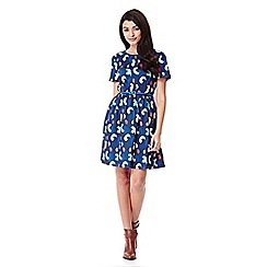 Yumi - blue Skater Dress With Brush Stroke Print