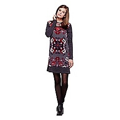 Yumi - grey Knitted Tunic Dress With Rose Print